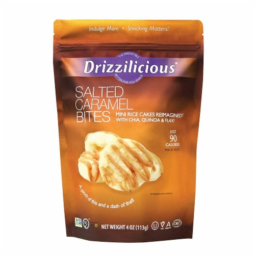 Drizzilicious Salted Caramel Bites Mini Rice Cakes, 4oz (Pack of 12) Perspective: front