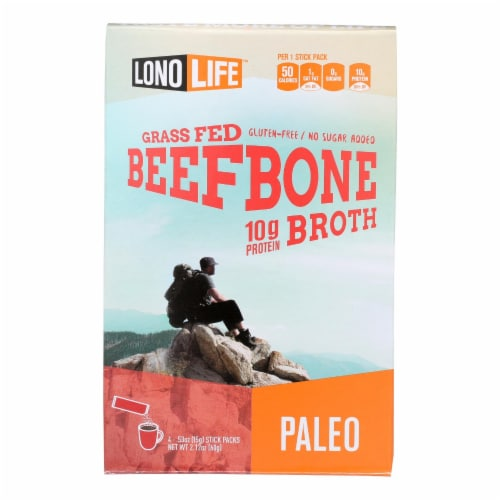 Lonolife Beef Bone Broth  - Case of 6 - 4/.53 OZ Perspective: front