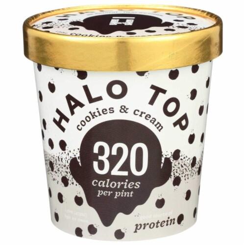 Halo Top Ice Cream Pint, Cookies & Cream, 16 oz. (8 count) Perspective: front