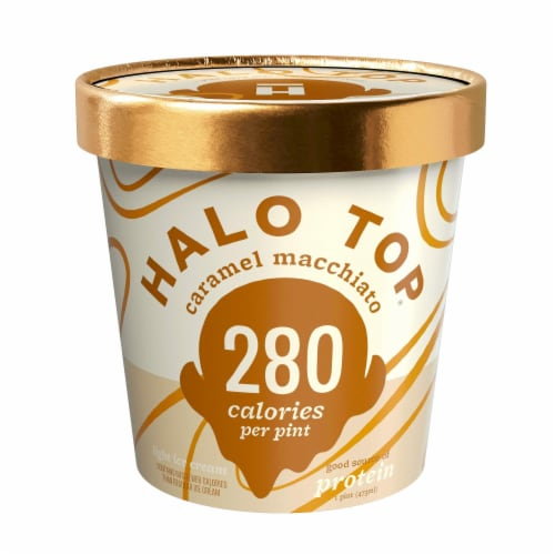 Halo Top Ice Cream Pint, Caramel Macchiato, 16 Ounce (8 count) Perspective: front