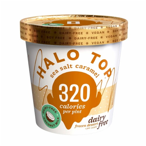 Halo Top Non Dairy Pint, Sea Salt & Caramel, 16 oz. (8 count) Perspective: front