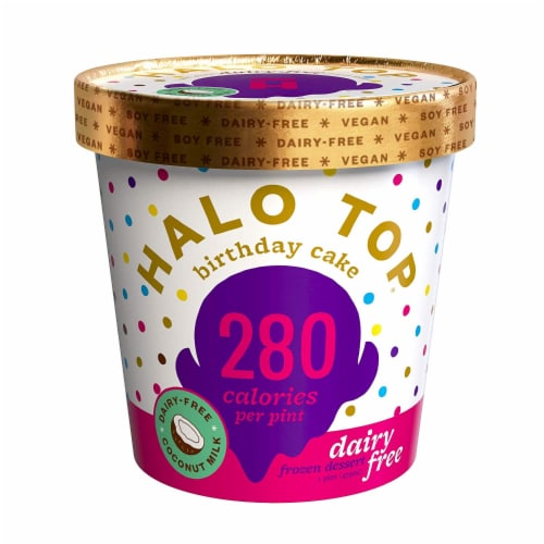 Halo Top Non Dairy Pint, Birthday Cake, 16 oz. (8 count) Perspective: front