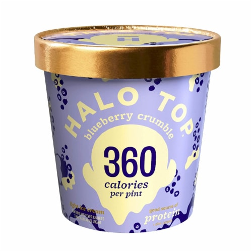 Halo Top Ice Cream Pint, Blueberry Crumble, 16 Ounce (8 count) Perspective: front