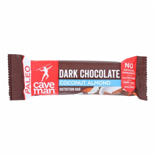 Caveman - Nutrition Bar - Dark Chocolate Almond Coconut - Case of 12 - 1.4 oz. Perspective: front