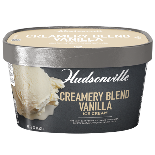 Hudsonville, Creamery Blend Vanilla, 48 oz. Scround (4 Count) Perspective: front