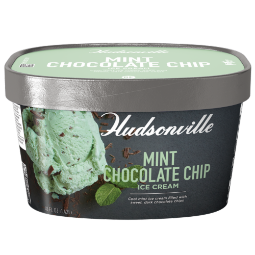 Hudsonville, Mint Chocolate Chip, 48 oz. Scround (4 Count) Perspective: front