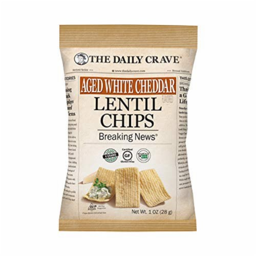 The Daily Crave Aged White Cheddar Lentil Chips Gluten Free, 1 oz (Pack of 24) Perspective: front