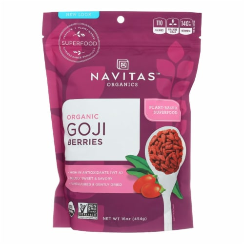Navitas Naturals Goji Berries - Organic - Sun-Dried - 16 oz - case of 6 Perspective: front