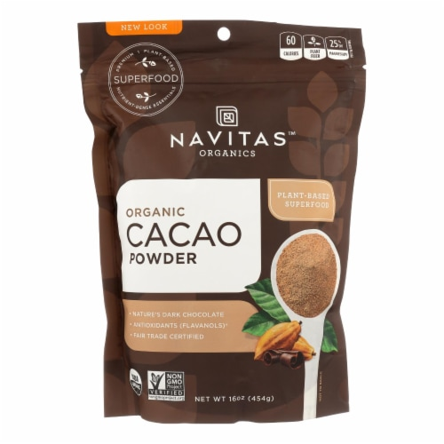 Navitas Naturals Cacao Powder - Organic - Raw - 16 oz - case of 6 Perspective: front