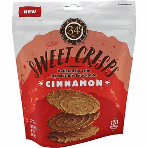 34 Degrees Sweet Crisps Cinnamon, 4oz (Pack of 12) Perspective: front