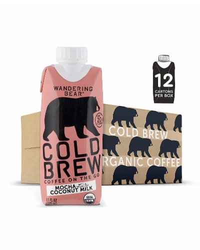 Wandering Bear Organic Mocha with Coconut Milk Cold Brew Coffee Perspective: front
