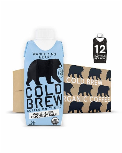 Wandering Bear Vanilla with Coconut Milk Cold Brew Coffee Perspective: front