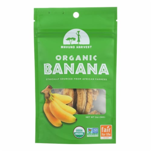 Mavuno Harvest Organic Gluten - Free Dried Banana - Case of 6 - 2 oz. Perspective: front