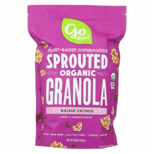 Go Raw Plant-Based Sprouted Organic Granola Raisin Crunch, 16oz (Pack of 6) Perspective: front
