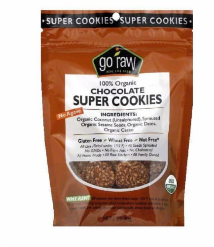 Go Raw Chocolate Organic Super Cookies, 3 Oz (Pack of 12) Perspective: front