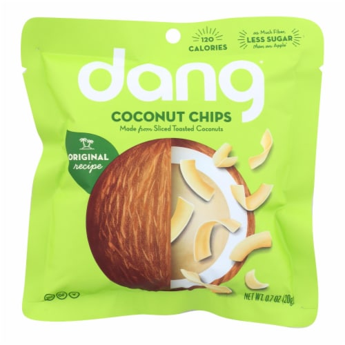 Dang - Toasted Coconut Chips - Original Recipe - Case of 24 - .7 oz. Perspective: front