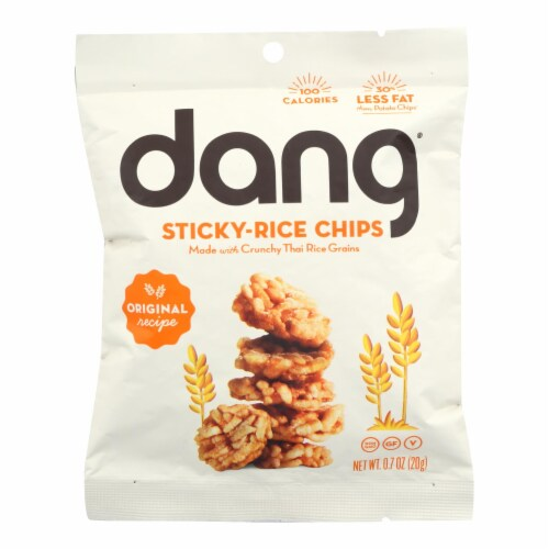 Dang - Sticky Rice Chips - Original Recipe - Case of 24 - .7 oz. Perspective: front