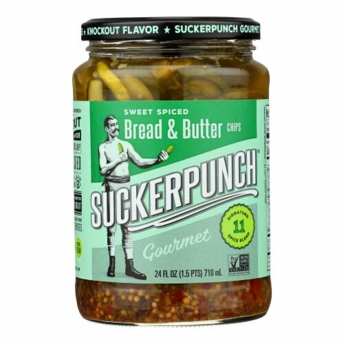 Suckerpunch Spicy Bread N' Better Gourmet Pickles  - Case of 6 - 24 FZ Perspective: front