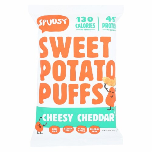 Spudsy Sweet Potato Puffs Vegan Cheesy Cheddar Plant Based, 4oz (Pack of 12) Perspective: front