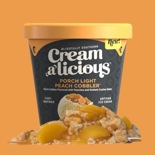 Creamalicious, Porch Light Peach Cobbler Artisan Ice Cream, Pint, (8 Count) Perspective: front