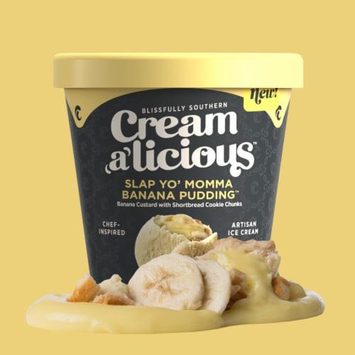 Creamalicious, Slap Yo' Momma Banana Pudding Artisan Ice Cream, Pint (8 Count) Perspective: front