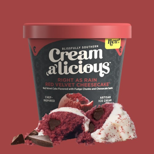 Creamalicious, Right As Rain Red Velvet Cheesecake Artisan Ice Cream, Pint (8 Count) Perspective: front