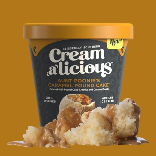 Creamalicious, Aunt Poonies Caramel Pound Cake Artisan Ice Cream, Pint (8 Count) Perspective: front
