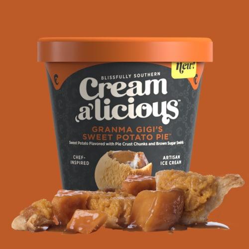 Creamalicious, Gi Gi's Sweet Potato Pie Artisan Ice Cream, Pint (8 Count) Perspective: front