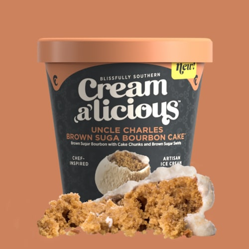 Creamalicious, Uncle Charles Brown Suga Bourbon Cake Ice Cream, Pint (8 Count) Perspective: front