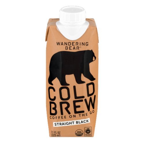 Wandering Bear Straight Black Cold Brew Coffee 12 Count Perspective: front