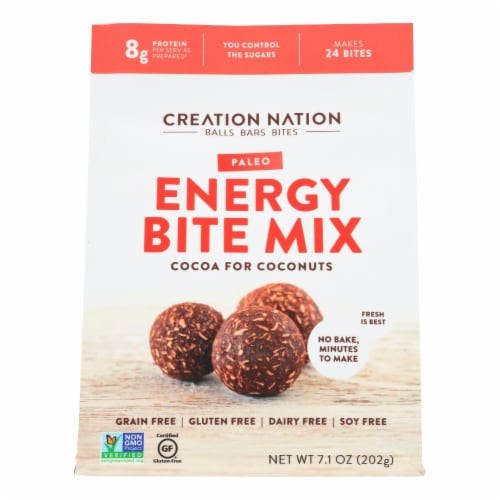 Creation Nation Cocoa For Coconuts Paleo Energy Bite Mix  - Case of 6 - 7.1 OZ Perspective: front