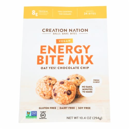 Creation Nation Oat Yes! Chocolate Chip Vegan Energy Bite Mix  - Case of 6 - 10.4 OZ Perspective: front