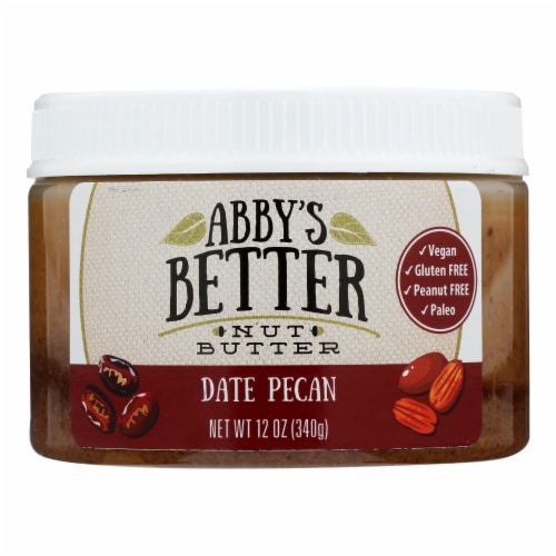 Abby's Better Nut Butter - Date Pecan Nut Butter - Case of 6 - 12 oz. Perspective: front