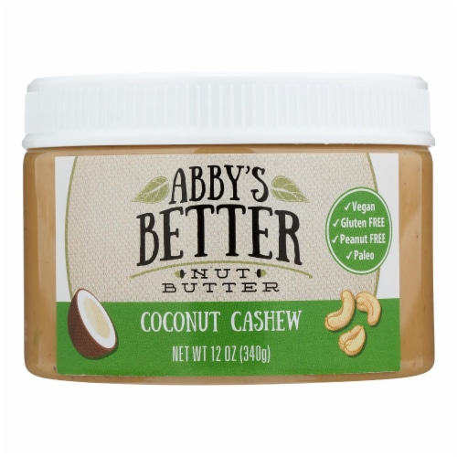 Abby's Better Nut Butter - Coconut Cashew Nut Butter - Case of 6 - 12 oz. Perspective: front