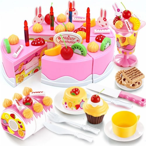 Birthday Cake Play Food Set Pink 75 Pieces Plastic Kitchen Cutting Toy Pretend Play Perspective: front