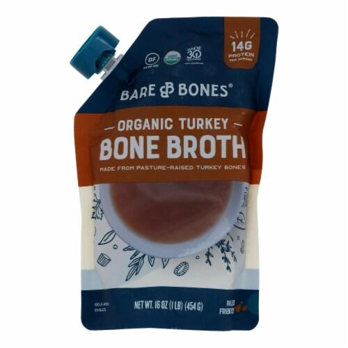 Bare Bones Broth - Bone Broth - Organic Turkey - Case of 6 - 16 fl oz. Perspective: front
