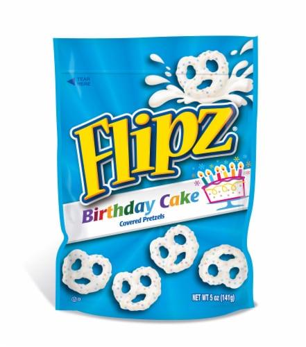 Flipz Birthday Cake Coated Pretzel, 5 Ounce -- 6 per case. Perspective: front