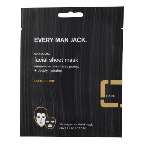 Every Man Jack Face Mask - Activated Charcoal Facial Sheet Mask - Case of 6 - .67 oz. Perspective: front