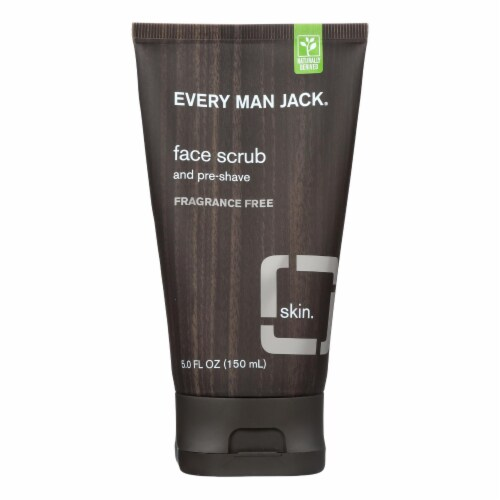 Every Man Jack Face Scrub and Pre Shave - Fragrance Free - 5 oz Perspective: front