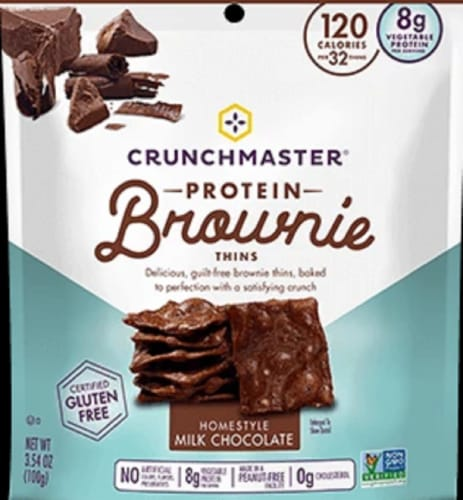 CrunchMaster Protein Brownie Thins Homestyle Milk Chocolate Gluten Free 3.54 OZ (Pack of 12 ) Perspective: front