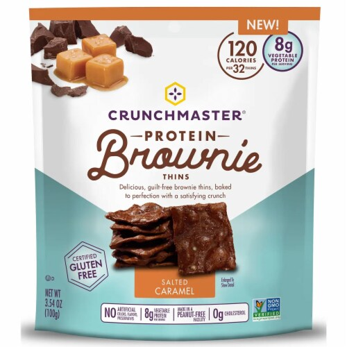 Crunchmaster Protein Brownie Thins Salted Caramel Gluten Free, 3.5oz (Pack Of 12) Perspective: front