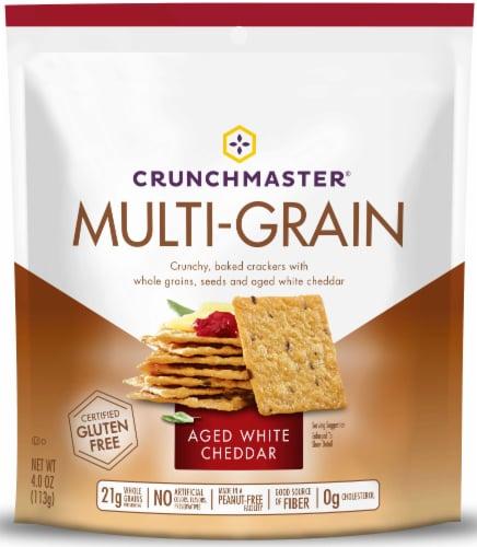 Crunchmaster White Cheddar Multi Grain Cracker, 4 Ounce -- 12 per case. Perspective: front