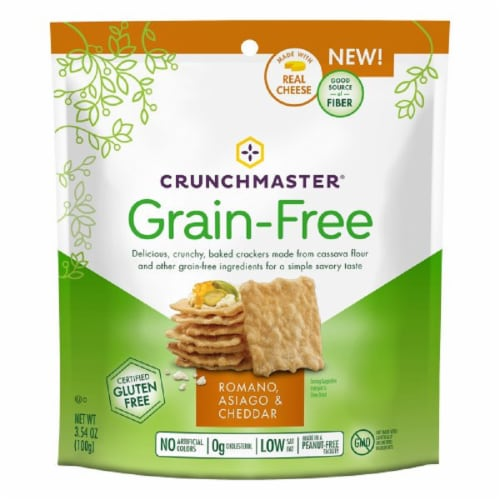 Crunchmaster Grain Free Crackers Romano Asiago & Cheddar Gluten Free, 3.4 oz (Pack of 12) Perspective: front