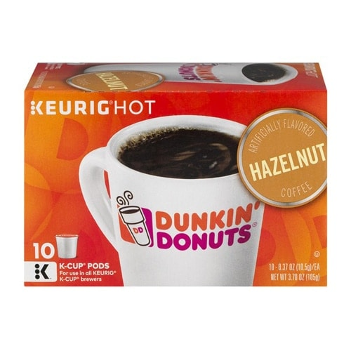 Dunkin' Donuts Hazelnut Flavored Ground Coffee K-Cup Pods Perspective: front