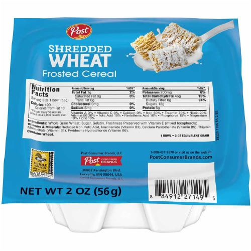 Post Shredded Wheat Frosted Cereal, 2 Ounce -- 48 per case. Perspective: front