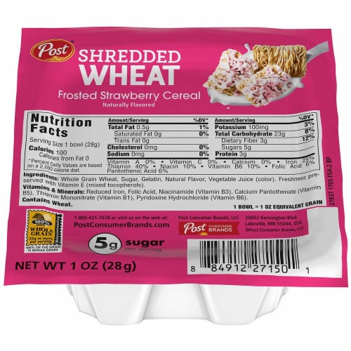 Post Shredded Wheat Frosted Strawberry Cereal, 1 Ounce -- 96 per case. Perspective: front