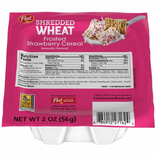 Post Shredded Wheat Frosted Strawberry Cereal, 2 Ounce -- 48 per case. Perspective: front