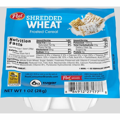 Post Shredded Wheat Frosted Cereal, 1 Ounce -- 96 per case. Perspective: front