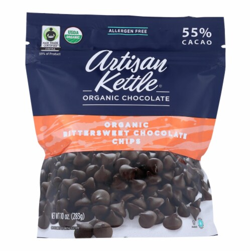 Artisan Kettle Chocolate Chips - Organic - Bittersweet - Case of 6 - 10 oz Perspective: front