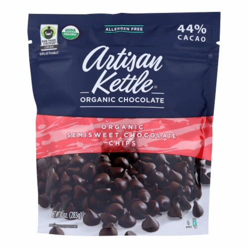 Artisan Kettle Chocolate Chips - Organic - Semisweet - Case of 6 - 10 oz Perspective: front